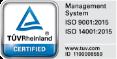 ISO9001およびISO14001認証マーク